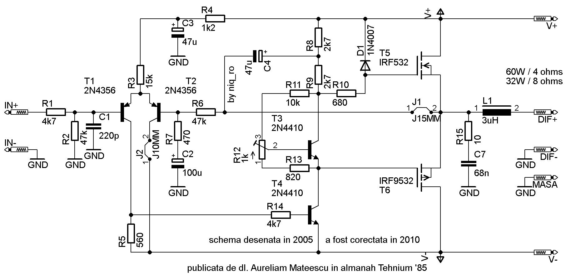 amplificator audio cu tranzistoare mos